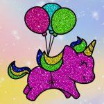Coloring Book: Glittered Unicorns